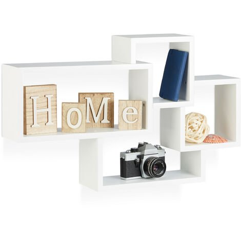 Relaxdays Cube Floating Shelf, Modern Connected Design, 4 Compartments, MDF, HWD: 42x69x12cm, White