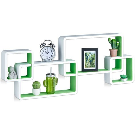 Relaxdays Cube Floating Shelves, Wall-Mount, Irregular Design, MDF, Bookcase, HWD: 42x104x10cm, White-Green