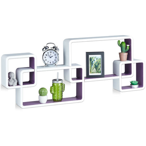 Relaxdays Cube Floating Shelves, Wall-Mount, Irregular Design, MDF, Bookcase, HWD: 42x104x10cm, White-Purple