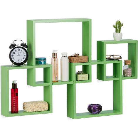 Relaxdays Cube Shelf, Hanging Large Floating Shelf, MDF Wall Shelf, HxWxD: 92x62.5x10 cm, Green