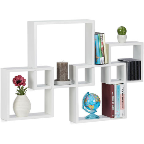 Relaxdays Cube Shelf, Hanging Large Floating Shelf, MDF Wall Shelf, HxWxD: 92x62.5x10 cm, White