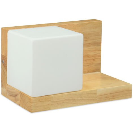 Relaxdays Cube Wall Lamp and Floating Shelf, Retro, Wall Lighting, E27, Max. 40 Watts, Wood, Frosted Glass, HWD: 15.5 x 24 x 15 cm, Natural