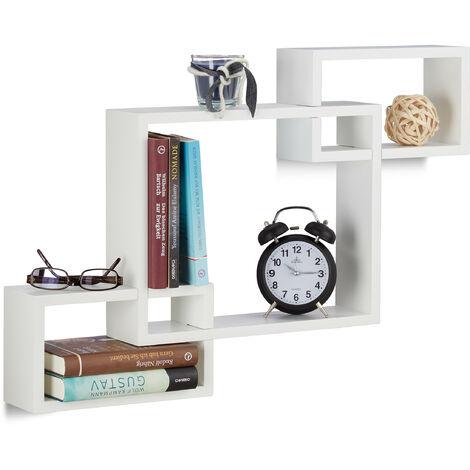 Relaxdays Cube Wall Shelf, Square Wooden Floating Shelf, Plug-In, MDF, HxWxD: 48 x 70.5 x 10 cm, White
