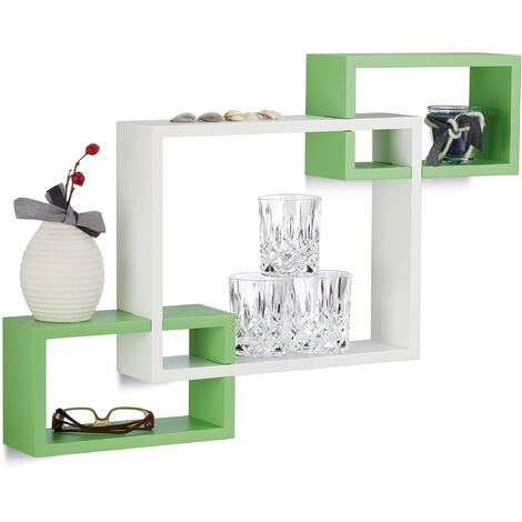 Relaxdays Cube Wall Shelf, Square Wooden Floating Shelf, Plug-In, MDF, HxWxD: 48 x 70.5 x 10 cm, White-Green