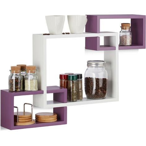 Relaxdays Cube Wall Shelf, Square Wooden Floating Shelf, Plug-In, MDF, HxWxD: 48 x 70.5 x 10 cm, White-Purple