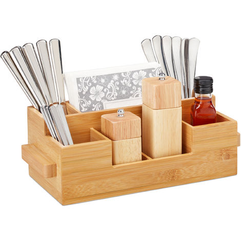 Relaxdays Cutlery Holder Bamboo, 7 Compartments, Table Caddy For Napkins, Sauces, Oil, Spices, HWD 11.5 x 35 x 15 cm