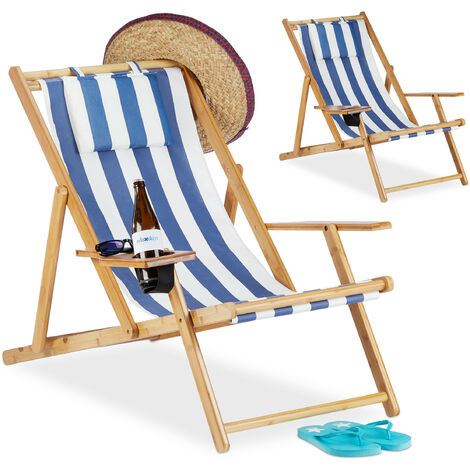 Relaxdays Deck Chair Set of 2, Beach Lounger with Drink Holder, Bamboo, Armrests, Folding, Blue Stripes