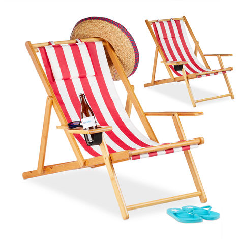 Relaxdays Deck Chair Set of 2, Beach Lounger with Drink Holder, Bamboo, Armrests, Folding, Red Stripes