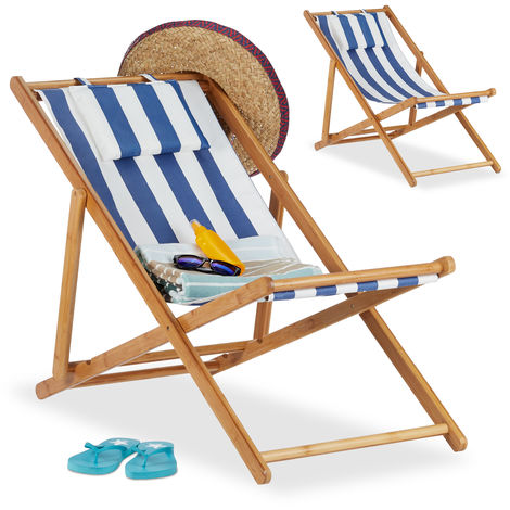 Relaxdays Deck Chair Set of 2, Folding Bamboo Lounger, Fabric with Cushion, Foldable, Compact, Blue