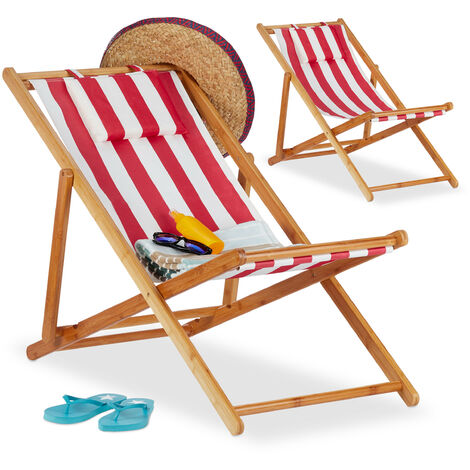 Relaxdays Deck Chair Set of 2, Folding Bamboo Lounger, Fabric with Cushion, Foldable, Compact, Red