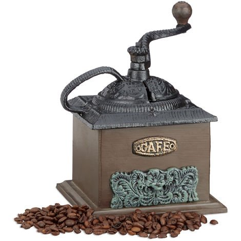 Relaxdays Deco Vintage Coffee Grinder, Wood, Cast Iron, Hand Crank, Drawer, HxWxD: 20 x 20 x 15 cm, Dark Brown