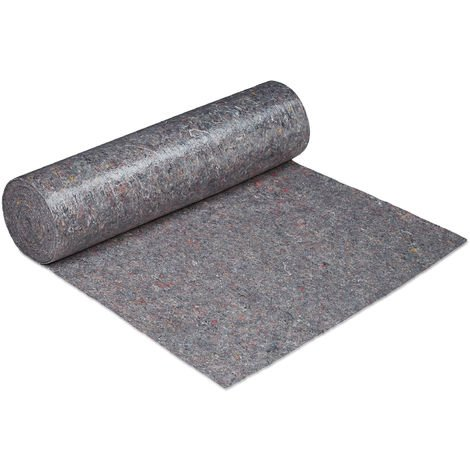 Relaxdays Decorating Protection Fleece Roll, 1 m x 50 m = 50m², Non-slip, Water-resistant, 220g/m², Painting, In Grey