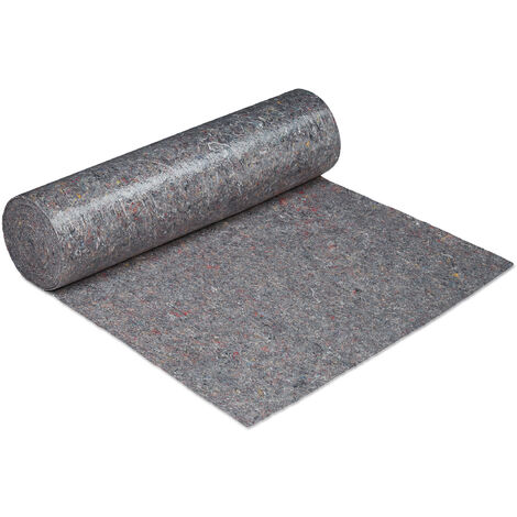 Relaxdays Decorating Protection Fleece Roll, 1 m x 50 m = 50m², Non-slip, Water-resistant, 270g/m², Painting, In Grey
