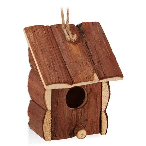Relaxdays Decorative Birdhouse, Hanging Bird Nest, Natural Wood, Balcony, Garden, H x W x D: 16.5 x 12 x 9.5 cm, Natural