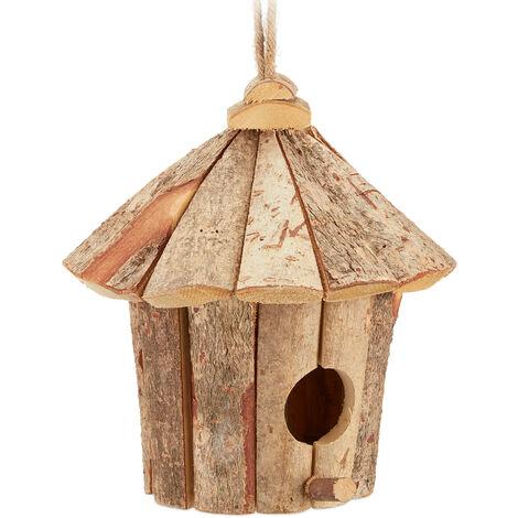 Relaxdays Decorative Birdhouse, Hanging Bird Nest, Natural Wood, Balcony, Garden, H x W x D: 22 x 22 x 22 cm, Natural