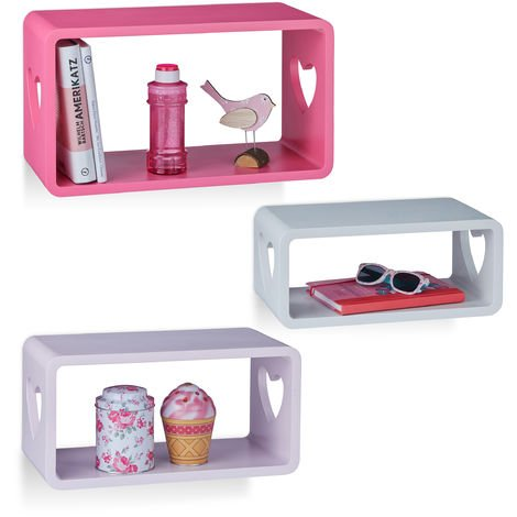 Relaxdays Decorative Floating Shelf Set of 3, Heart-Shaped Cut-Outs, Stackable, MDF Bookcases, White/Purple/Pink