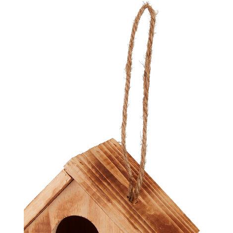 Relaxdays Decorative Wooden Birdhouse, Balcony, Terrace, Hanging, Mini Nesting Box, H x W x D 34 x 20 x 19 cm, Natural