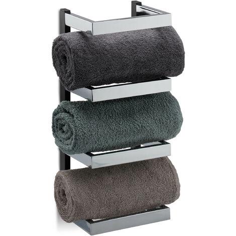 Relaxdays Designer Towel Rack, Compartments for Towels, Chrome, Hanging Bathroom Shelf, HWD: 44x18x16 cm, Silver/Black