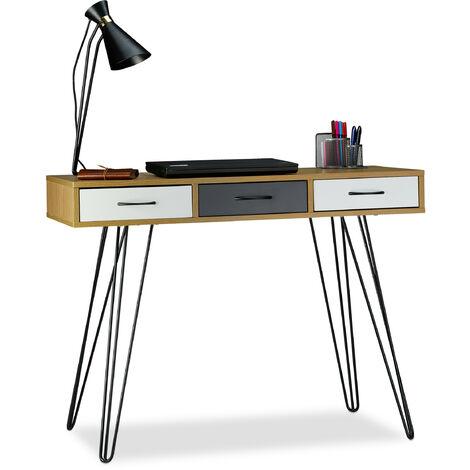 Relaxdays Designer Writing Desk, 3 Drawers, Modern Design, Computer Table, HxWxD: 75 x 100 x 50 cm, Brown-White-Grey