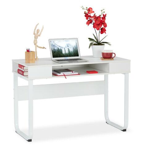 Relaxdays Desk, 3 Open Shelves, Modern DRelaxdays Desk, 3 Open Shelves, Modern Design, Home, Office, etc, HWD: 74,5 x 110 x 55 cm, Varioesign, Home, Office, etc, HWD: 74,5 x 110 x 55 cm, White