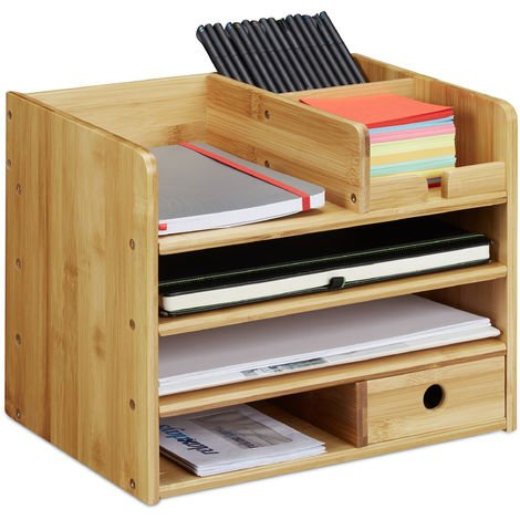 Relaxdays Desk Organiser, A4 Letter Tray, Keep Notes and Pens Neat and Tidy, Drawer, Office Storage, Bamboo