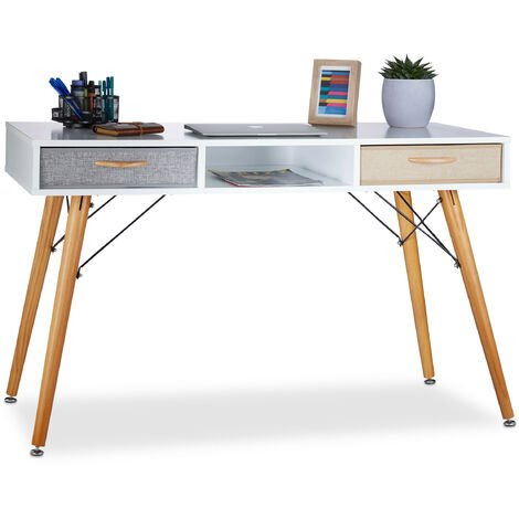 Relaxdays Desk, Scandinavian Design, 3 Compartments, 2 Drawers, Computer Table HxWxD: app. 74 x 125 x 60 cm, Wood, White