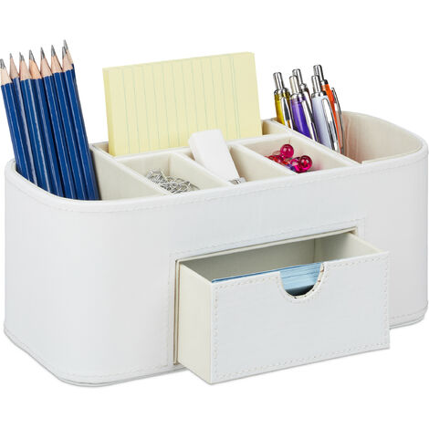 Relaxdays Desk Supplies Organiser, Faux Leather, Office, 7 Tiers, Pencil Holder 10.5 x 26 x 11.5 cm, Various Colours
