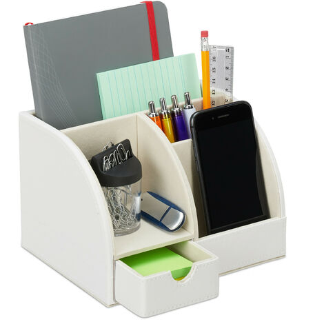 Relaxdays Desk Supplies Organiser, Faux Leather, Office, Drawer, 4 Tiers, Pencil Holder, 13x19x15 cm, Various Colours