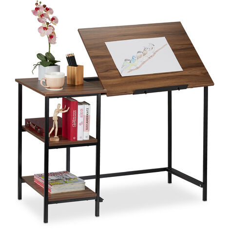 Relaxdays Desk Tilting, 3 Shelves, Several Angles, Computer & Work Desk, HWD: 75 x 110 x 55 cm, Wood/Black