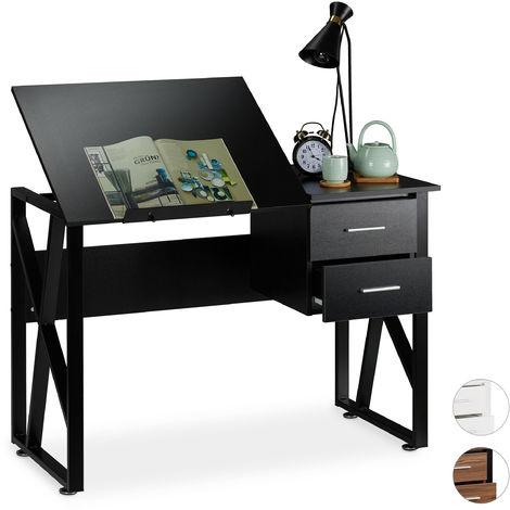 Relaxdays Desk Tilting, Adjustable Worktop Surface, Laptop Table or Drawing Desk, HWD 75x110x55cm, Black