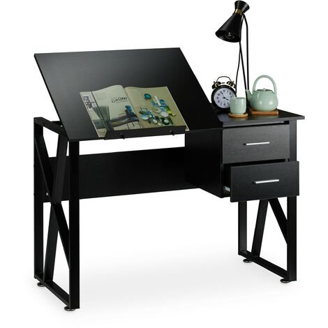 Relaxdays Desk Tilting, Adjustable Worktop Surface, Laptop Table or Drawing Desk, HWD 75x110x55cm, Black