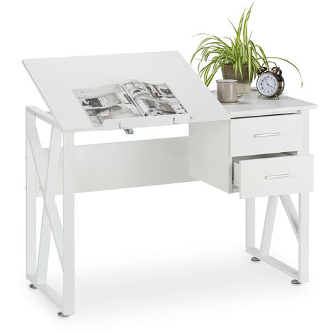 """main image of """"Relaxdays Desk Tilting, Adjustable Worktop Surface, Laptop Table or Drawing Desk, HWD 75x110x55cm, White"""""""