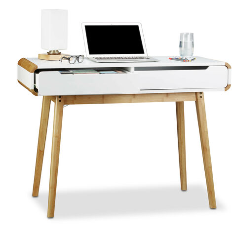 Relaxdays Desk with Drawers, Nordic Design, Vanity, Children's Writing Table, HxWxD: 73 x 100 x 45 cm, White