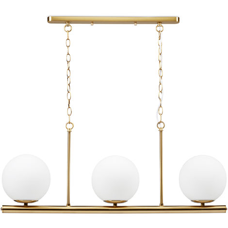 Relaxdays Dining Room Lamp GLOBI, 3-Spot Iron Hanging Light, 3 Frosted Glass Spheres, E14, 81.5x91.5x19 cm, Golden
