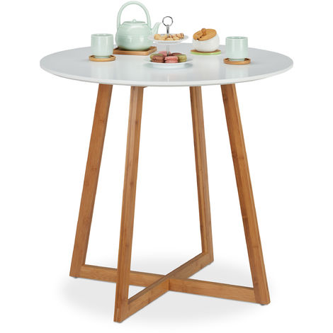 """main image of """"Relaxdays Dining Table Round, Nordic, Crossed Wood Legs, 2 Person, Bamboo & MDF, Kitchen Table, HxW 75x80 cm, White/Wood"""""""
