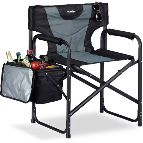 Relaxdays Director Chair, Folding Camping Chair With Cooler, Ideal For Day Trips & Backyard, 110 kg, Black/Grey
