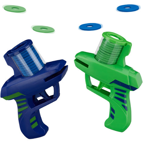 Relaxdays Disc Shooter, Pack of 2, Toy Guns with 36 Discs, Flying Aim & Target Game, Outdoor Foam Blaster, Blue/Green