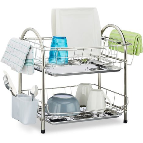 Relaxdays Dish Drainer with 2 Tiers, Cutlery Holder, Dish Rack, Drip Tray, Stainless Steel, HxWxD: 39.5 x 60 x 22 cm, Silver
