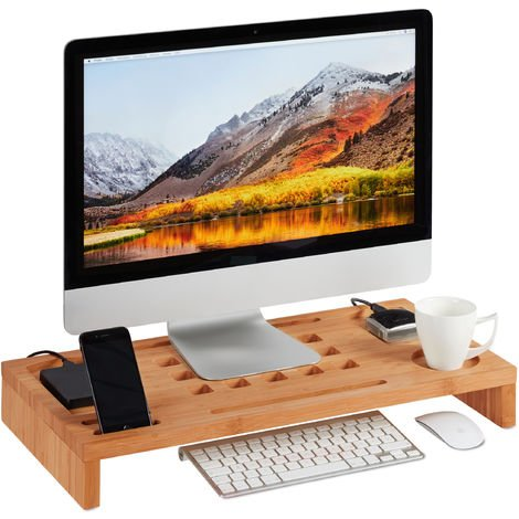 Relaxdays Display Stand, Bamboo Screen Riser, for Laptops and Monitors, Table Organiser, HWD: 8 x 60 x 30 cm, Natural