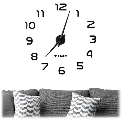 Relaxdays DIY Clock, 3D Numbers, Adhesive Wall Tattoo, Easy to Install, Variable Size, Black