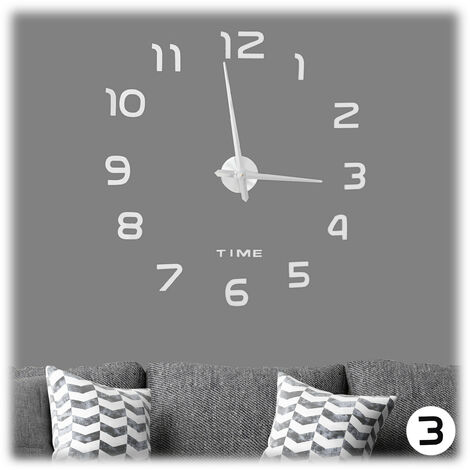 Relaxdays DIY Clock, 3D Numbers, Adhesive Wall Tattoo, Easy to Install, Variable Size, Silver