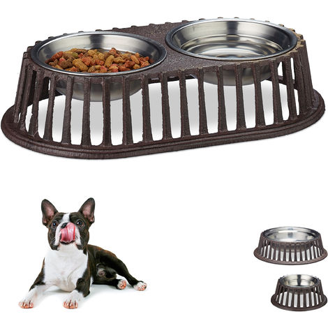 Relaxdays Dog Bowl for Food & Water, Cast Iron Dish Holder, Stainless Steel, Dishwasher-Safe, Double Set, Brown
