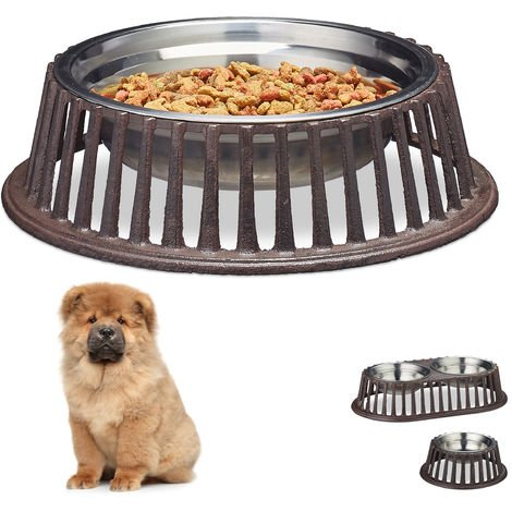 Relaxdays Dog Bowl for Food & Water, Cast Iron Dish Holder, Stainless Steel, Dishwasher-Safe, Medium, 1L, Brown