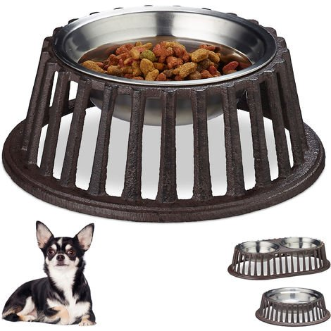 Relaxdays Dog Bowl for Food & Water, Cast Iron Dish Holder, Stainless Steel, Dishwasher-Safe, Small, 200ml, Brown
