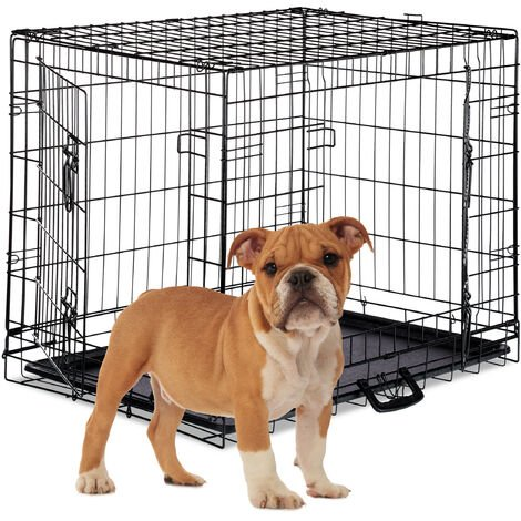 Relaxdays Dog Cage, Folding Transport Crate, Whelping Pen, 2 Doors, Floor Tray, Metal, L, Black