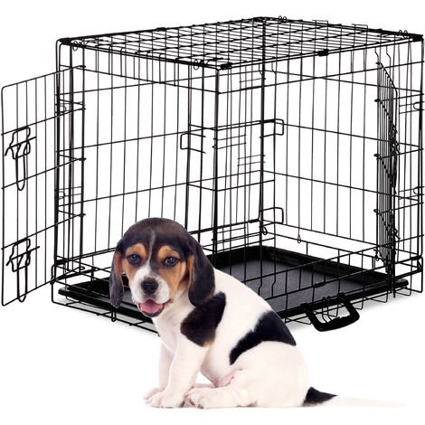 Relaxdays Dog Cage, Folding Transport Crate, Whelping Pen, 2 Doors, Floor Tray, Metal, M, Black
