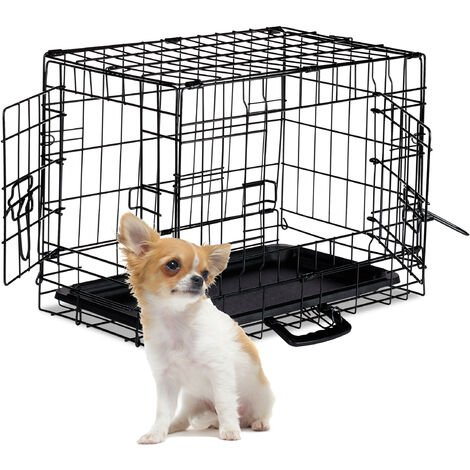 Relaxdays Dog Cage, Folding Transport Crate, Whelping Pen, 2 Doors, Floor Tray, Metal, S, Black