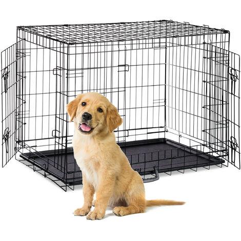 Relaxdays Dog Cage, Folding Transport Crate, Whelping Pen, 2 Doors, Floor Tray, Metal, XL, Black