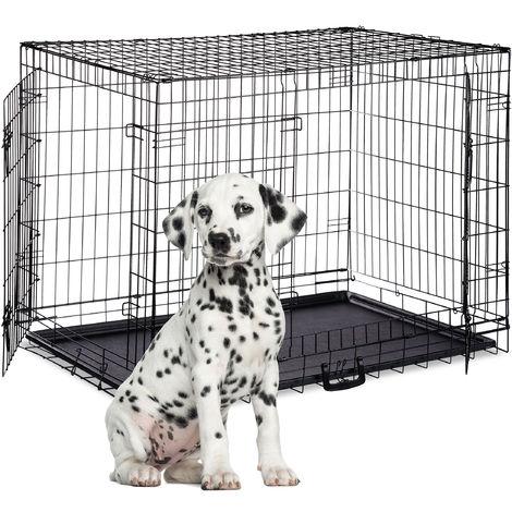 Relaxdays Dog Cage, Folding Transport Crate, Whelping Pen, 2 Doors, Floor Tray, Metal, XXXL, Black