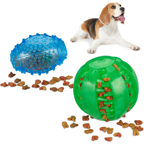 Relaxdays Dog Chew Ball Set Of 2, Dog Toy Dental, Squeaks, Bite-proof, Robust, 2 Sizes Teeth Cleaning Balls, Green/Blue